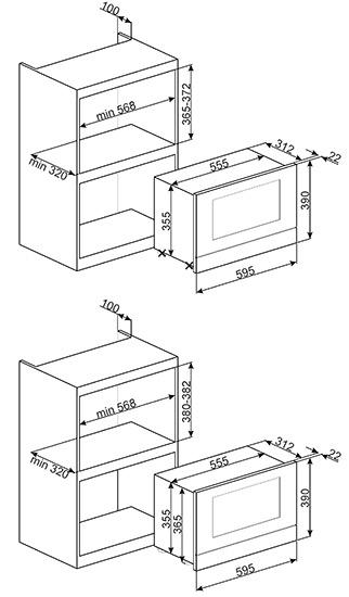 Smeg MP122 microgolfoven microgolven met grill (inbouw) MP 122