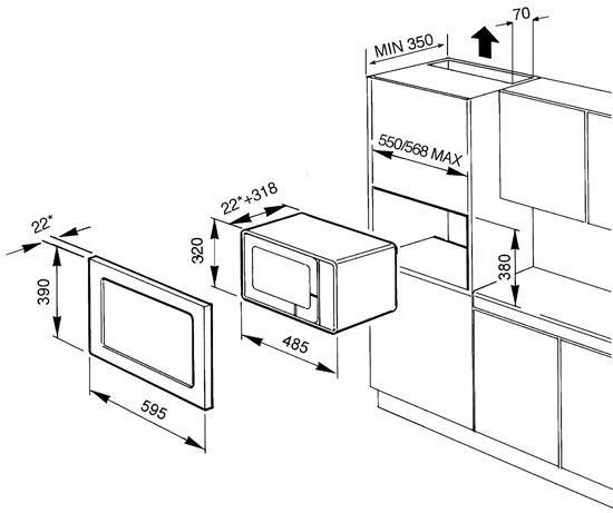smeg FME120 microgolfoven microgolven met grill (inbouw) FME 120