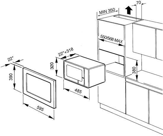 smeg FME20TC3 microgolfoven microgolven met grill (inbouw) FME 20TC3 FME 20 TC 3