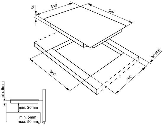 Smeg SIM561B kookplaat inductiekookplaat SIM 561 SIM561 SIM 561 B