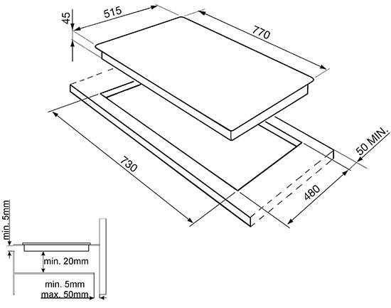 Smeg SI3842B kookplaat inductiekookplaat SI 3842 SI3842 SI 3842 B