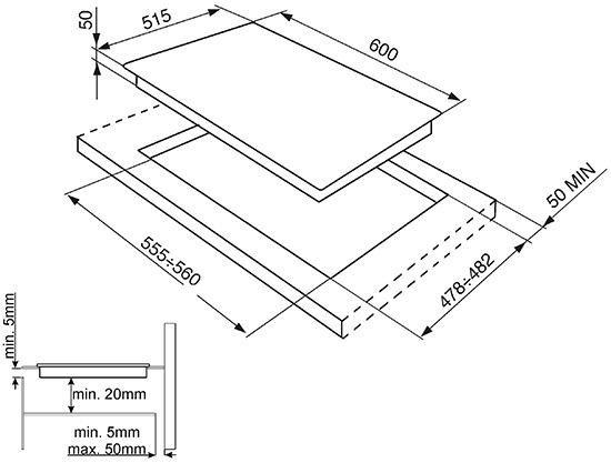 Smeg SI5641B kookplaat inductiekookplaat SI 5641 SI5641 SI 5641 B