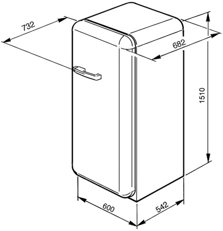 Smeg-50 FAB28RNE1 koelkast vrijstaand met vriesvak FAB 28RNE1 FAB 28 RNE 1
