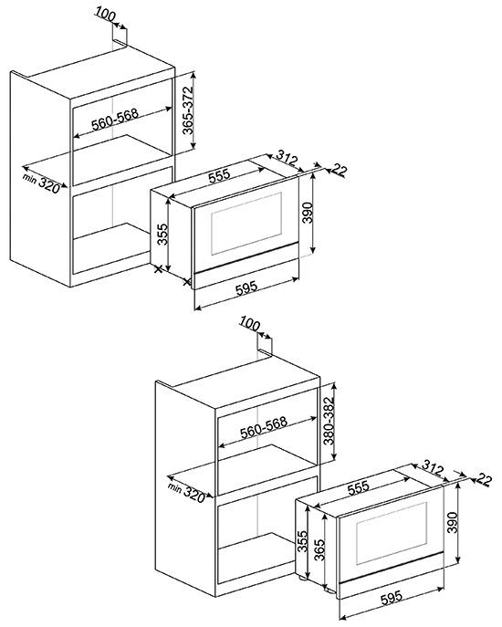 Smeg MP6322X microgolfoven enkel microgolven (inbouw) MP 6322 MP6322 MP 6322 X