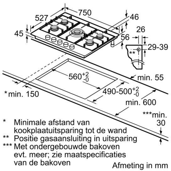 Bosch PRR7A6D70 kookplaat gas