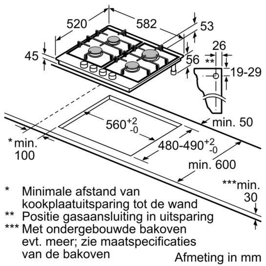Bosch PGP6B5B80 kookplaat gas