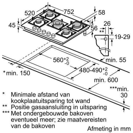 Bosch PPQ7A6B20 kookplaat gas