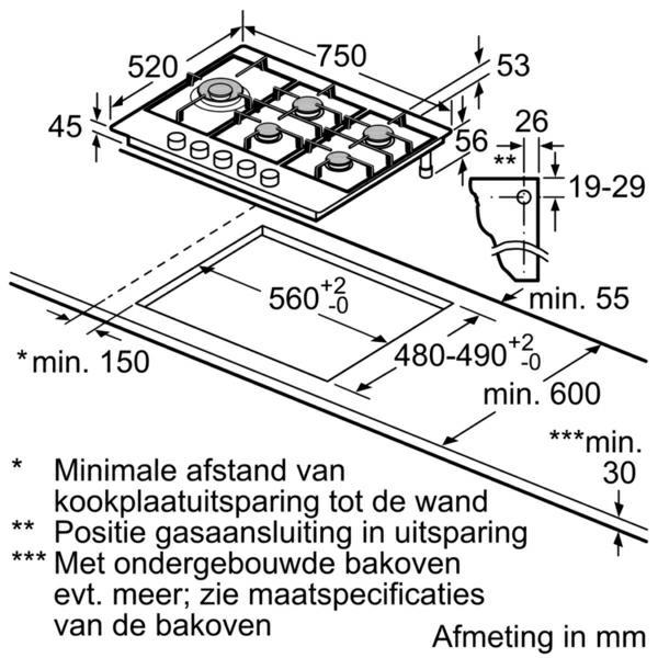 Neff T27DA79N0 kookplaat gas