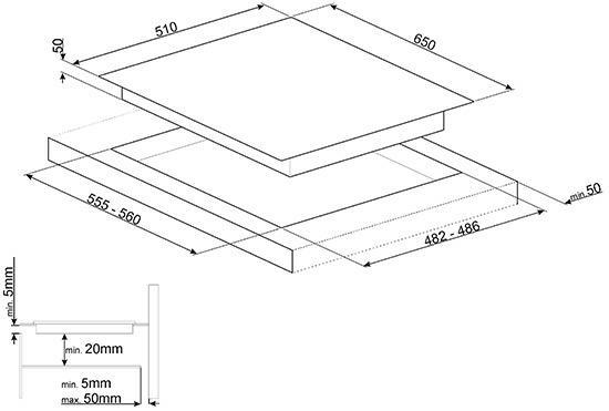 Smeg PM6621WLDX kookplaat gas + inductie