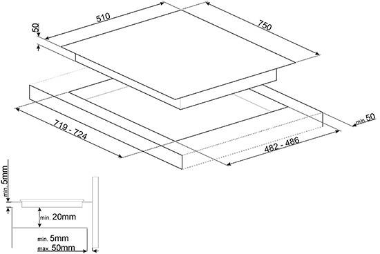 Smeg PM6721WLDX kookplaat gas + inductie