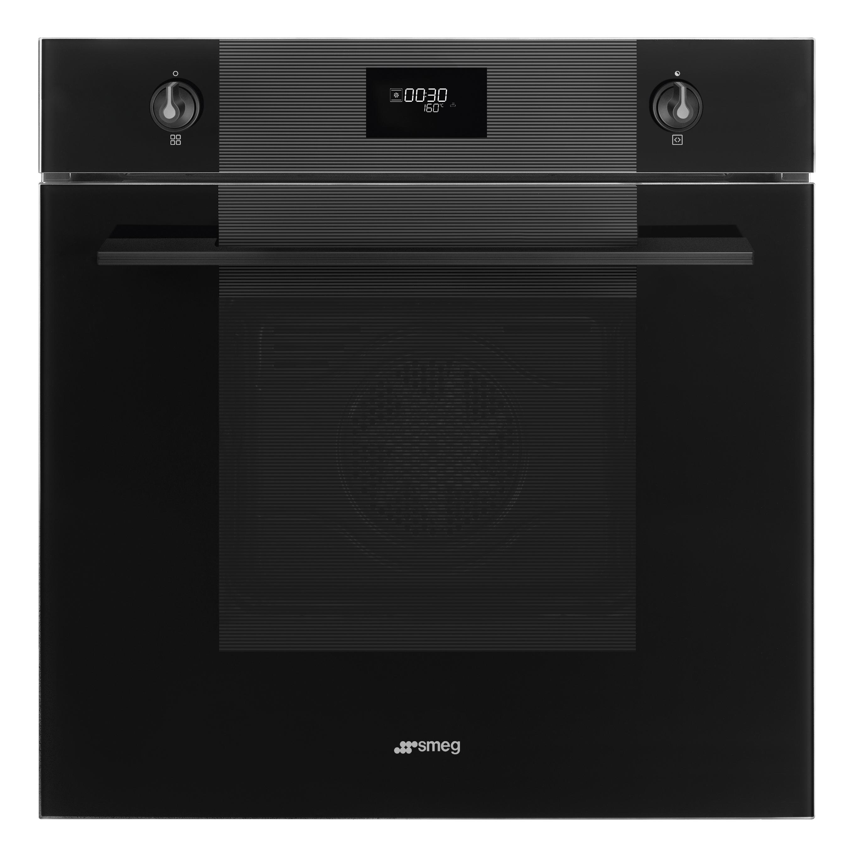 60 cm, Multifunctionele oven, 70 l, Vapor Clean, Groot LCD display, Zwarte handgreep en knopjes