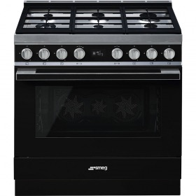 fornuis gas (kookplaat) + elektrisch (oven) Smeg Vrijstaand CPF9GMBL fornuis gas (kookplaat) + elektrisch (oven)