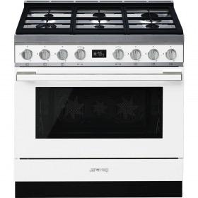 fornuis gas (kookplaat) + elektrisch (oven) Smeg Vrijstaand CPF9GMWH fornuis gas (kookplaat) + elektrisch (oven)