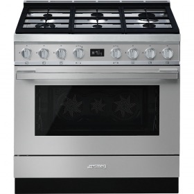 fornuis Smeg Vrijstaand CPF9GMX fornuis gas (kookplaat) + elektrisch (oven)