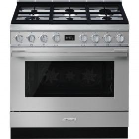 fornuis gas (kookplaat) + elektrisch (oven) Smeg Vrijstaand CPF9GMX fornuis gas (kookplaat) + elektrisch (oven)