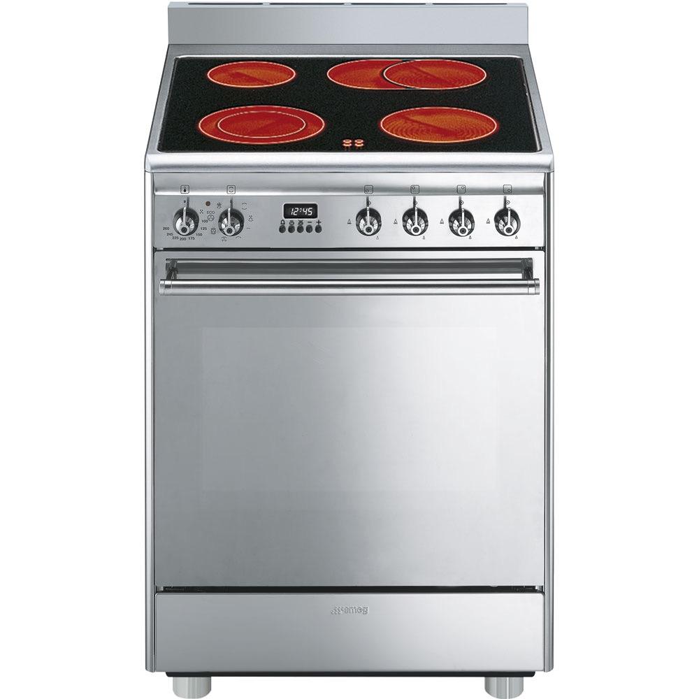 fornuis vitrokeramisch (kookplaat ) + elektrisch (oven) Smeg Vrijstaand CX68CM8 fornuis vitrokeramisch (kookplaat ) + elektrisch (oven)
