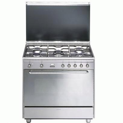 fornuis gas (kookplaat + oven) Smeg Vrijstaand SCB90MFX9 fornuis gas (kookplaat + oven) SCB 90MFX9 SCB 90 MFX 9