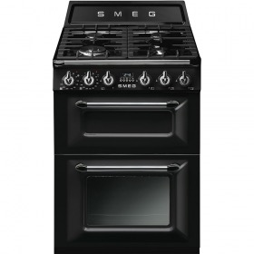 fornuis inductie (kookplaat) + gas (oven) Smeg Vrijstaand TR62BL fornuis inductie (kookplaat) + gas (oven)