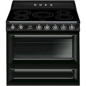 fornuis inductie (kookplaat) + elektrisch (oven) Smeg Vrijstaand TR90IBL fornuis inductie (kookplaat) + elektrisch (oven) TR 90 TR90 TR 90 IBL