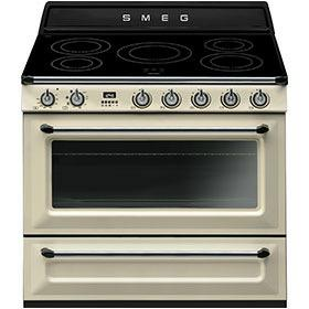 fornuis inductie (kookplaat) + elektrisch (oven) Smeg Vrijstaand TR90IP fornuis inductie (kookplaat) + elektrisch (oven) TR 90 TR90 TR 90 IP