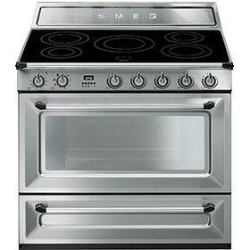 fornuis inductie (kookplaat) + elektrisch (oven) Smeg Vrijstaand TR90IX fornuis inductie (kookplaat) + elektrisch (oven) TR 90 TR90 TR 90 IX