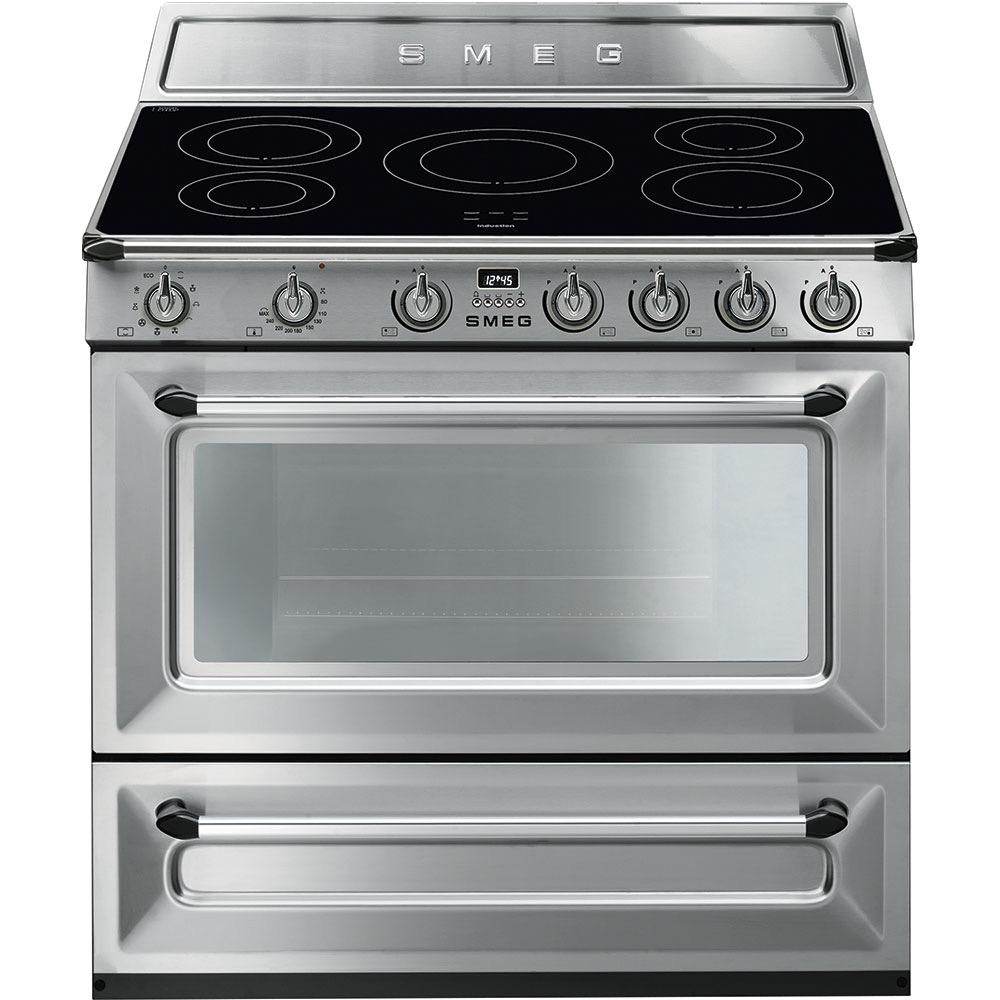 fornuis inductie (kookplaat) + gas (oven) Smeg Vrijstaand TR90IX9 fornuis inductie (kookplaat) + gas (oven)