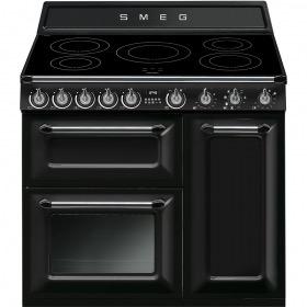 fornuis inductie (kookplaat) + elektrisch (oven) Smeg Vrijstaand TR93IBL fornuis inductie (kookplaat) + elektrisch (oven) TR 93 TR93 TR 93 IBL